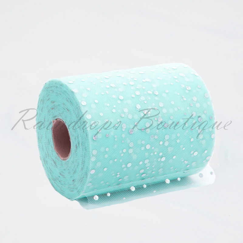 Ice Blue Sequin Tulle Roll